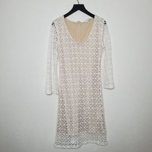 Boston Proper Crochet Lace Bell Sleeve Dress